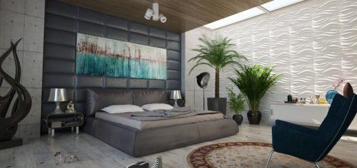 Растения в интерьере современной спальни