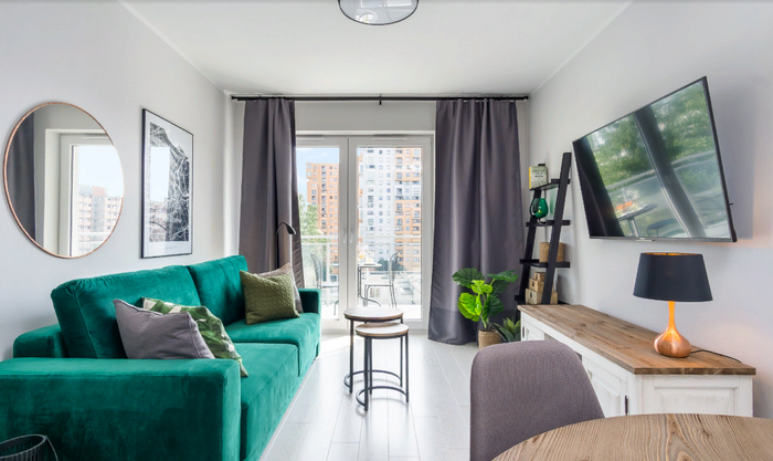 Дизайн гостиной с зелеными мотивами