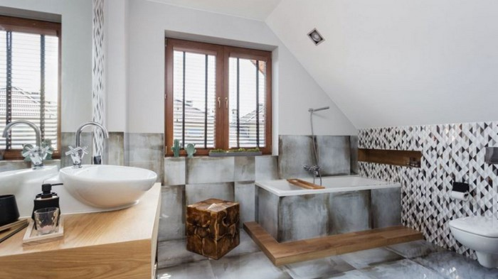 Красивая плитка в ванной комнате