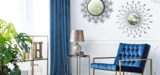 Зеркала разной формы в дизайне гостиной