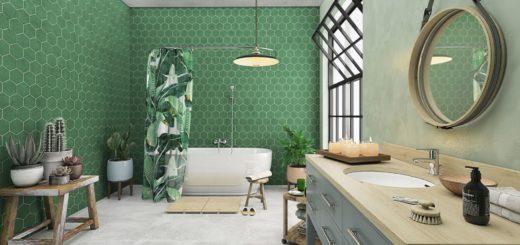 зеленый цвет в ванной