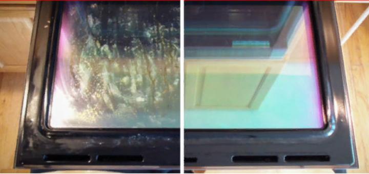 стекло духовки до и после очистки