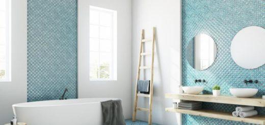 голубая плитка в интерьере ванной