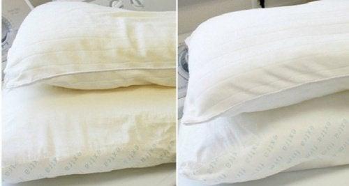 подушки до и после чистки