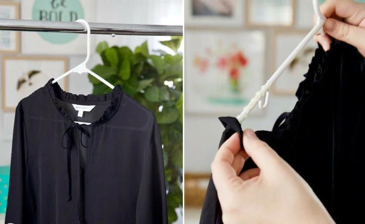 как повешать блузку на плечики