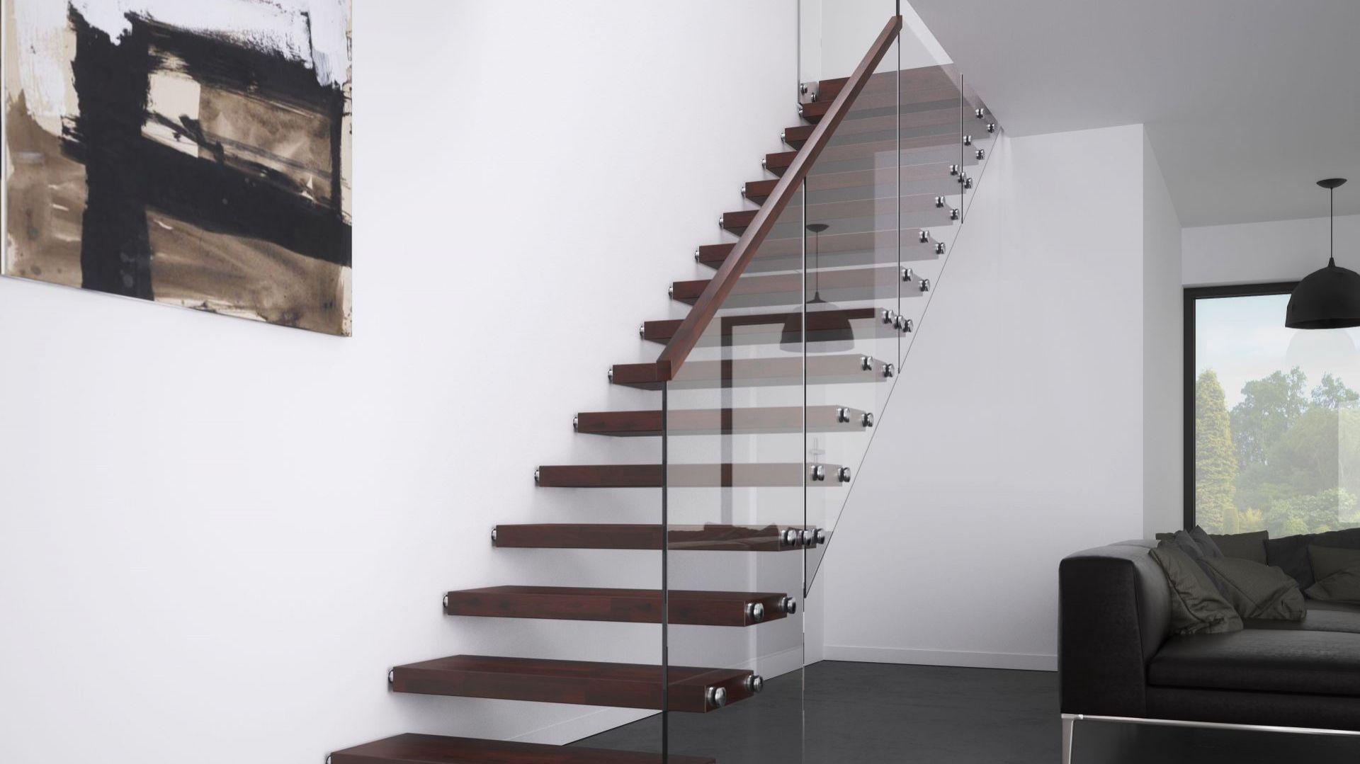 Гладкая стеклянная 2x8. Лестница без конструкции, ступени деревянные