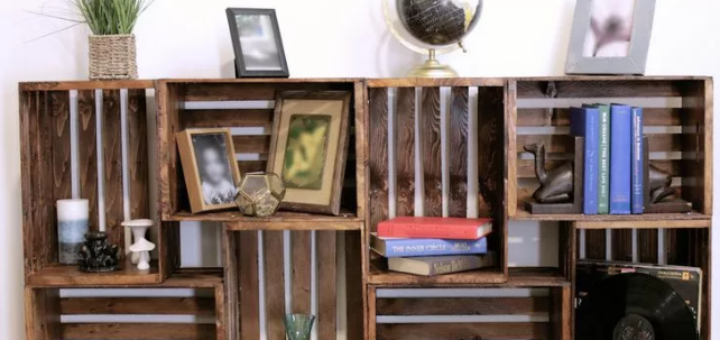 книжный стеллаж из ящиков