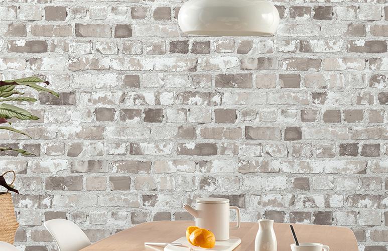 стена из плитки под белый кирпич