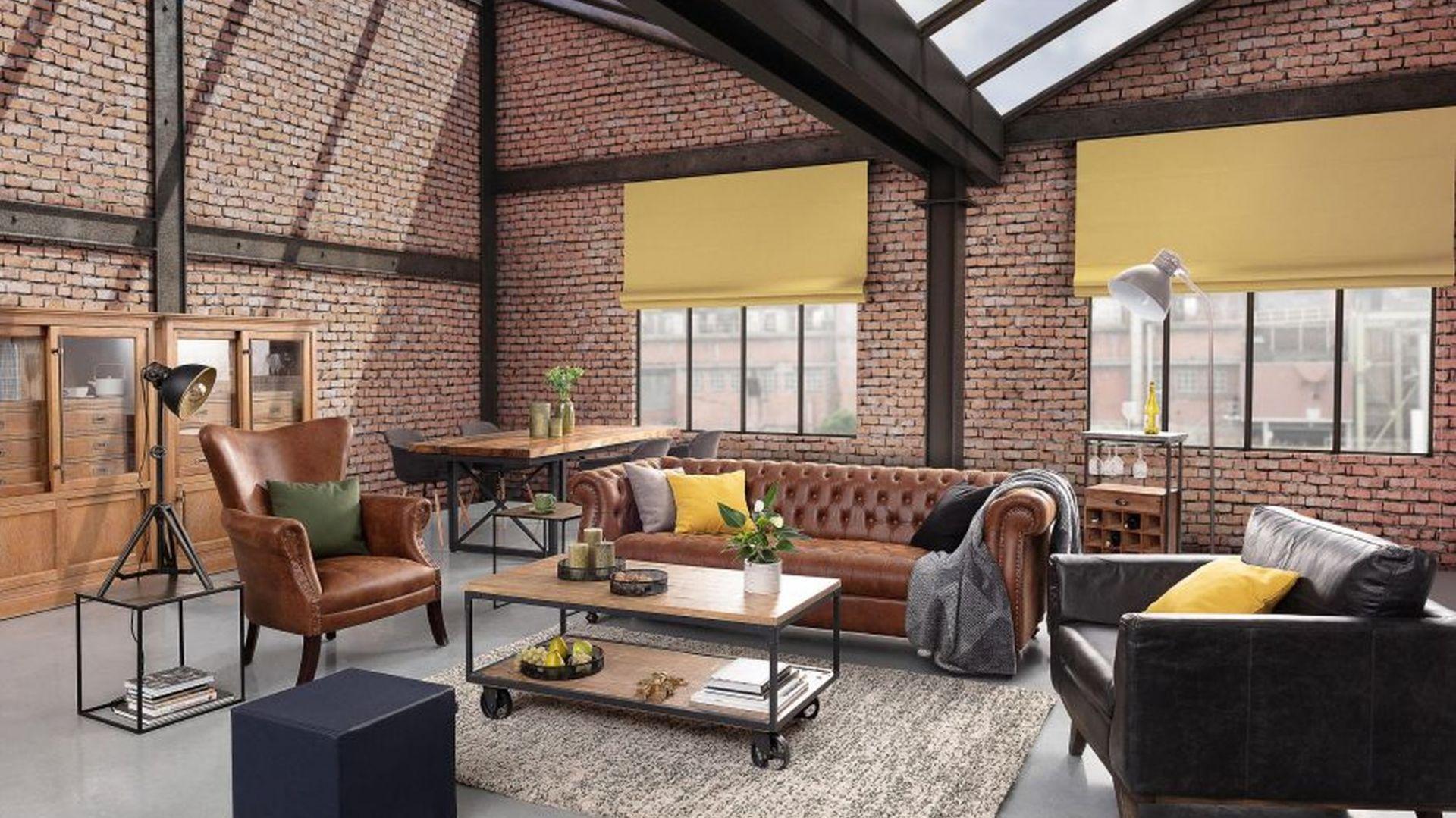 Идея для оформления гостиной в промышленном стиле